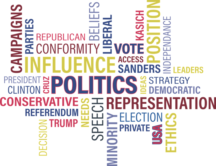mash-up of words related to politics