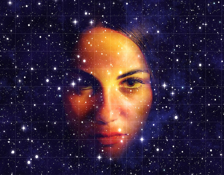face imposed over a field of stars