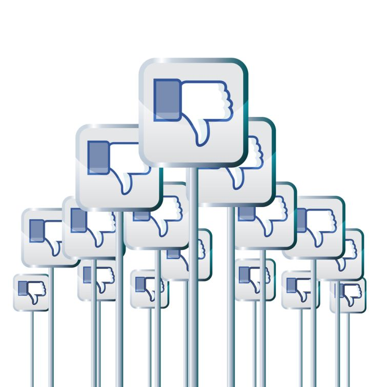 Vector illustration of facebook dislike buttons on poles voicing negative opinions or campaign, like Your Page has been unpublished.