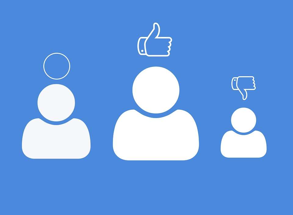 blue background with three people icons with a symbol over each's head circle, thumb up and thumb down representing webinar review