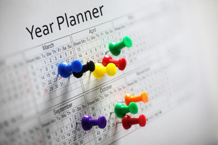 12 week Year planner with colorful thumbtacks