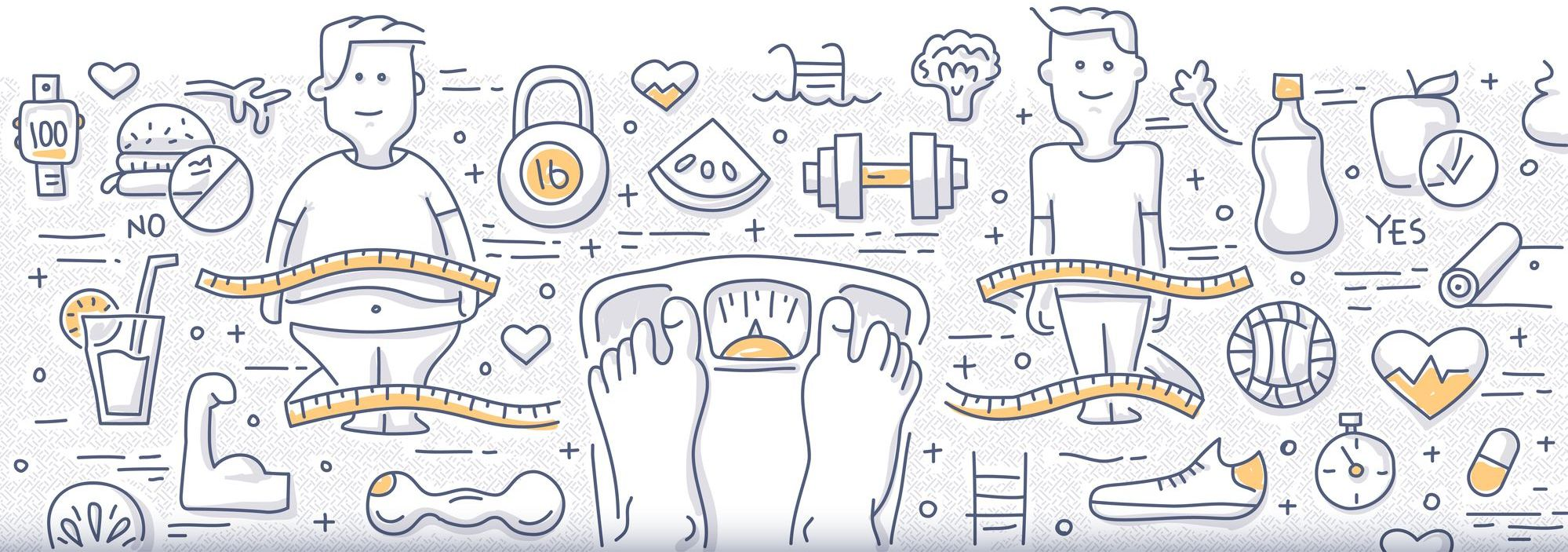 Doodle design style concept of getting healthy, controlling body mass weight, dieting and fitness. Modern line style illustration for web banners, hero images, printed materials